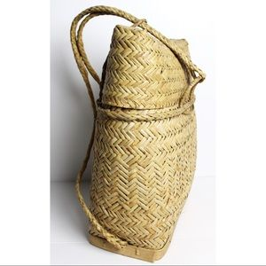 Rare Vintage Philippine Rattan Woven Backpack